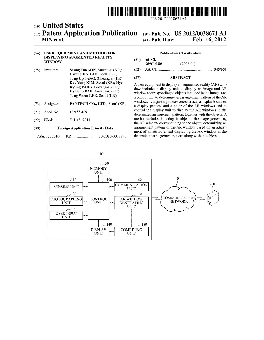 USER EQUIPMENT AND METHOD FOR DISPLAYING AUGMENTED REALITY WINDOW - diagram, schematic, and image 01