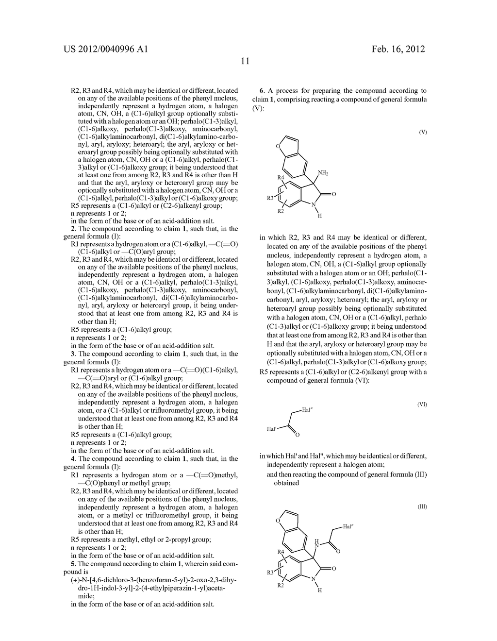 3-BENZOFURANYL-INDOL-2-ONE DERIVATIVES SUBSTITUTED AT THE 3 POSITION,     PREPARATION THEREOF, AND THERAPEUTIC USE THEREOF - diagram, schematic, and image 12