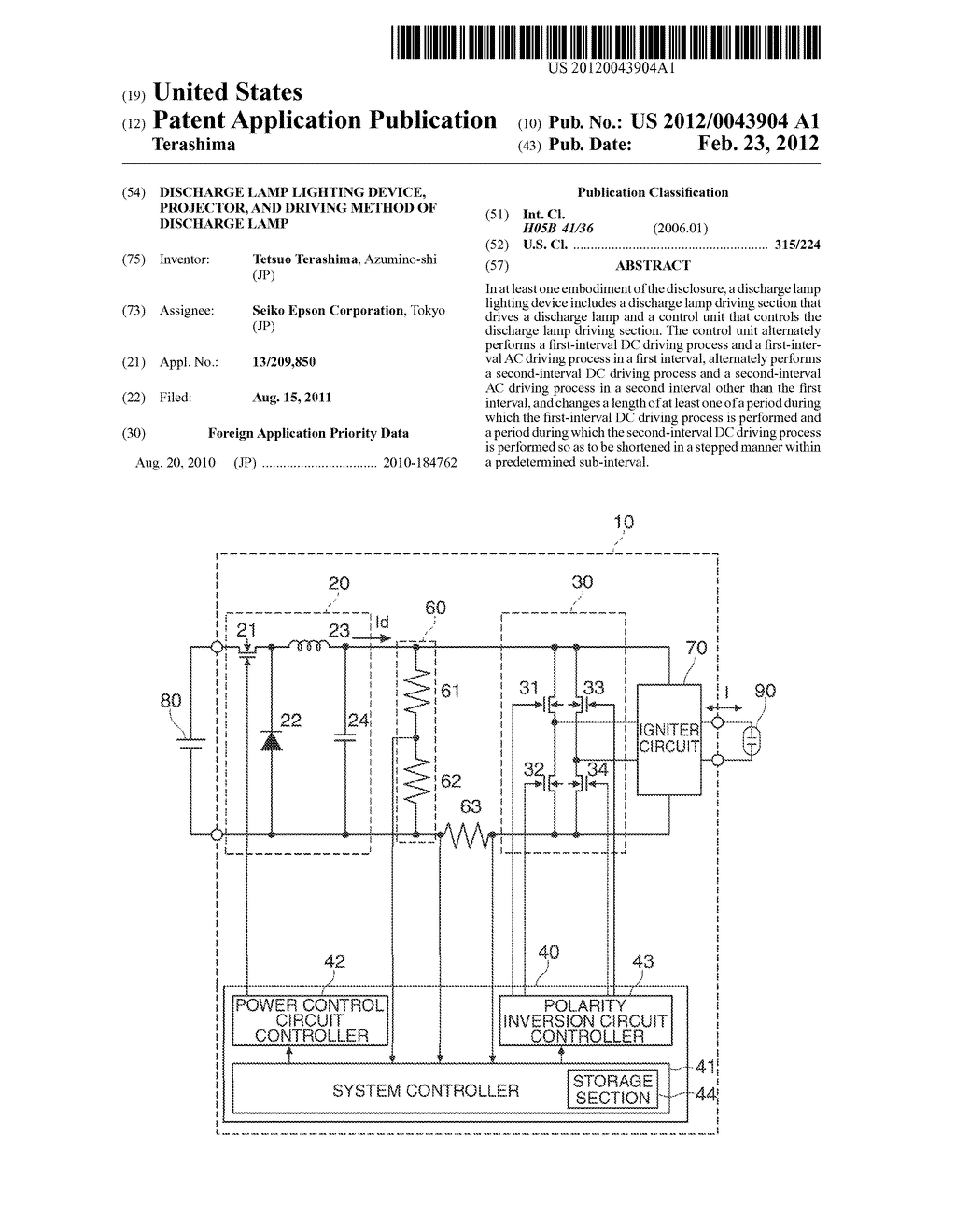 DISCHARGE LAMP LIGHTING DEVICE, PROJECTOR, AND DRIVING METHOD OF DISCHARGE     LAMP - diagram, schematic, and image 01