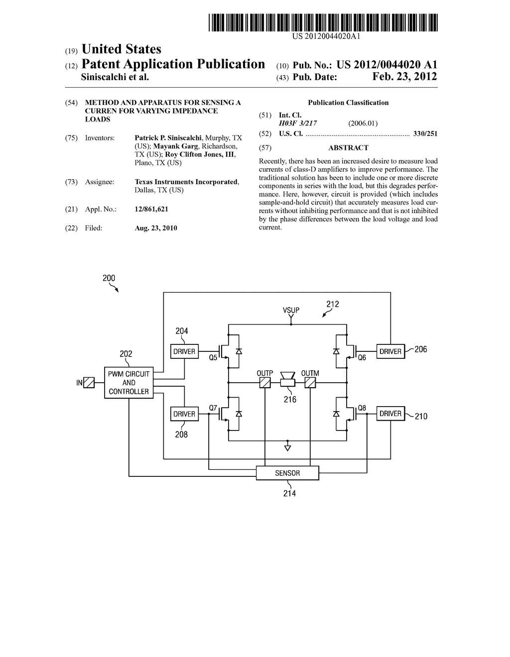 METHOD AND APPARATUS FOR SENSING A CURREN FOR VARYING IMPEDANCE LOADS - diagram, schematic, and image 01