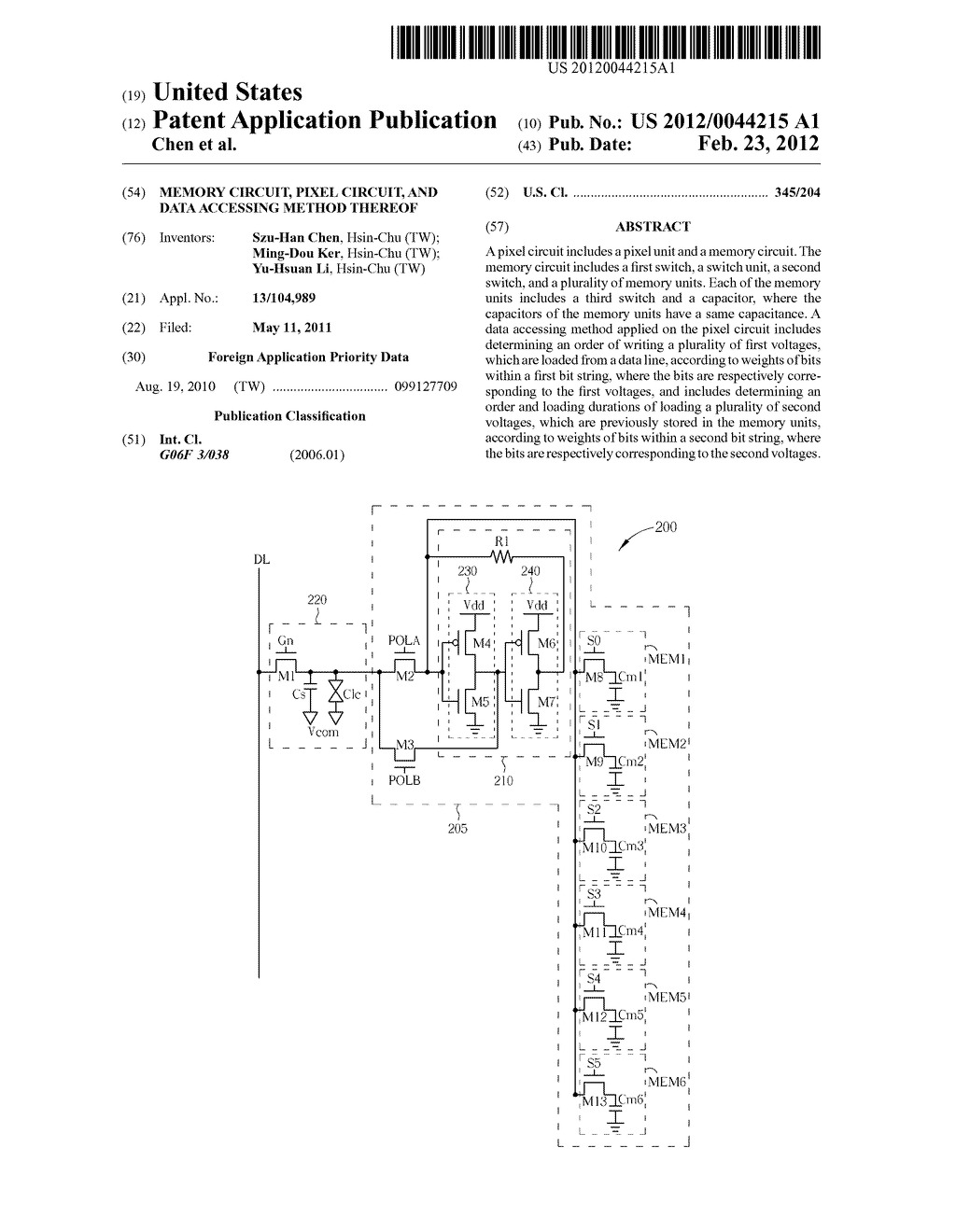Memory Circuit, Pixel Circuit, and Data Accessing Method Thereof - diagram, schematic, and image 01