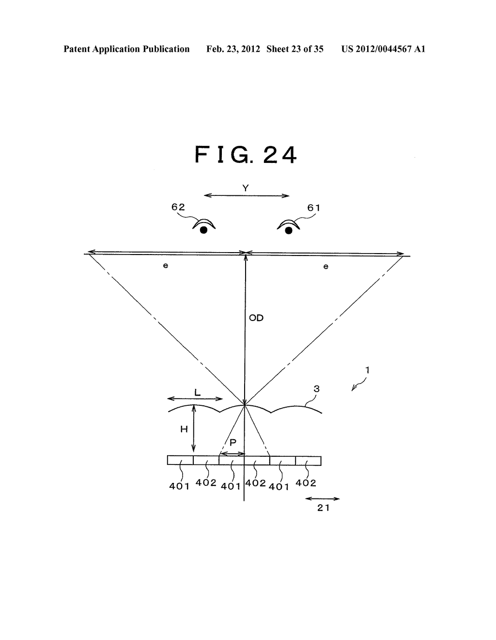 THREE-DIMENSIONAL IMAGE DISPLAY DEVICE, PORTABLE TERMINAL DEVICE, DISPLAY     PANEL AND FLY EYE LENS - diagram, schematic, and image 24