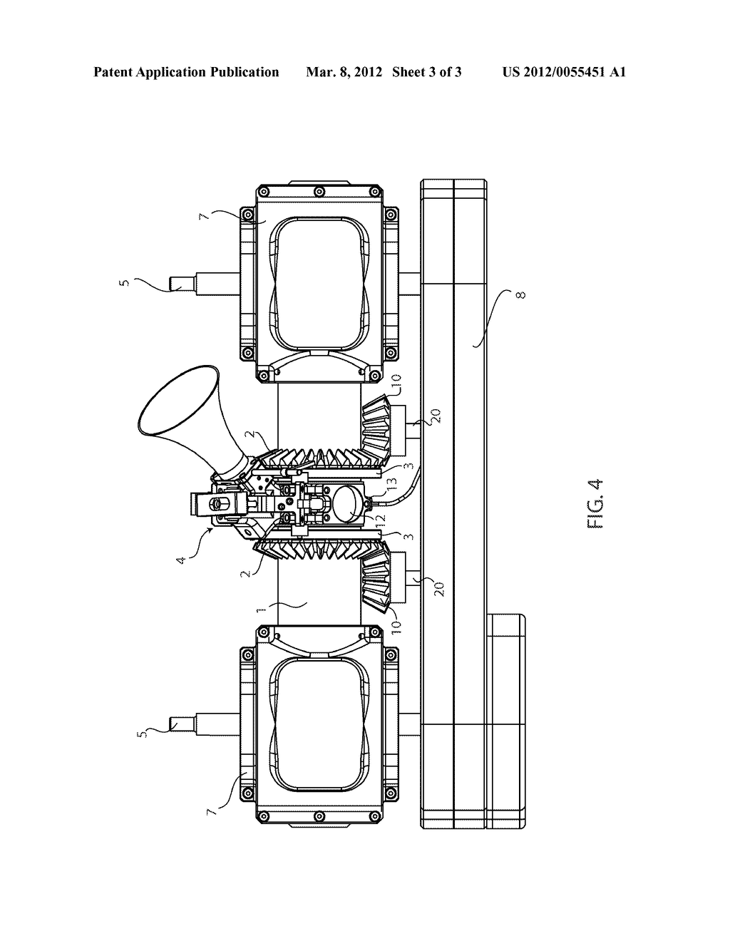 Inwardly Opposed Pistons, Fixed Position Common Cylinder Engine with  External Induction - diagram, schematic, and image 04