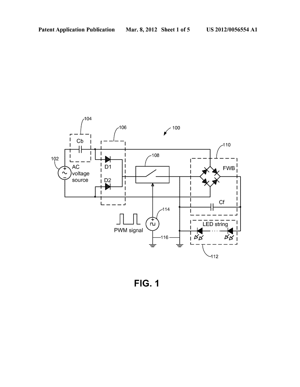 Solid State Light Source Driving and Dimming Using an AC Voltage Source - diagram, schematic, and image 02