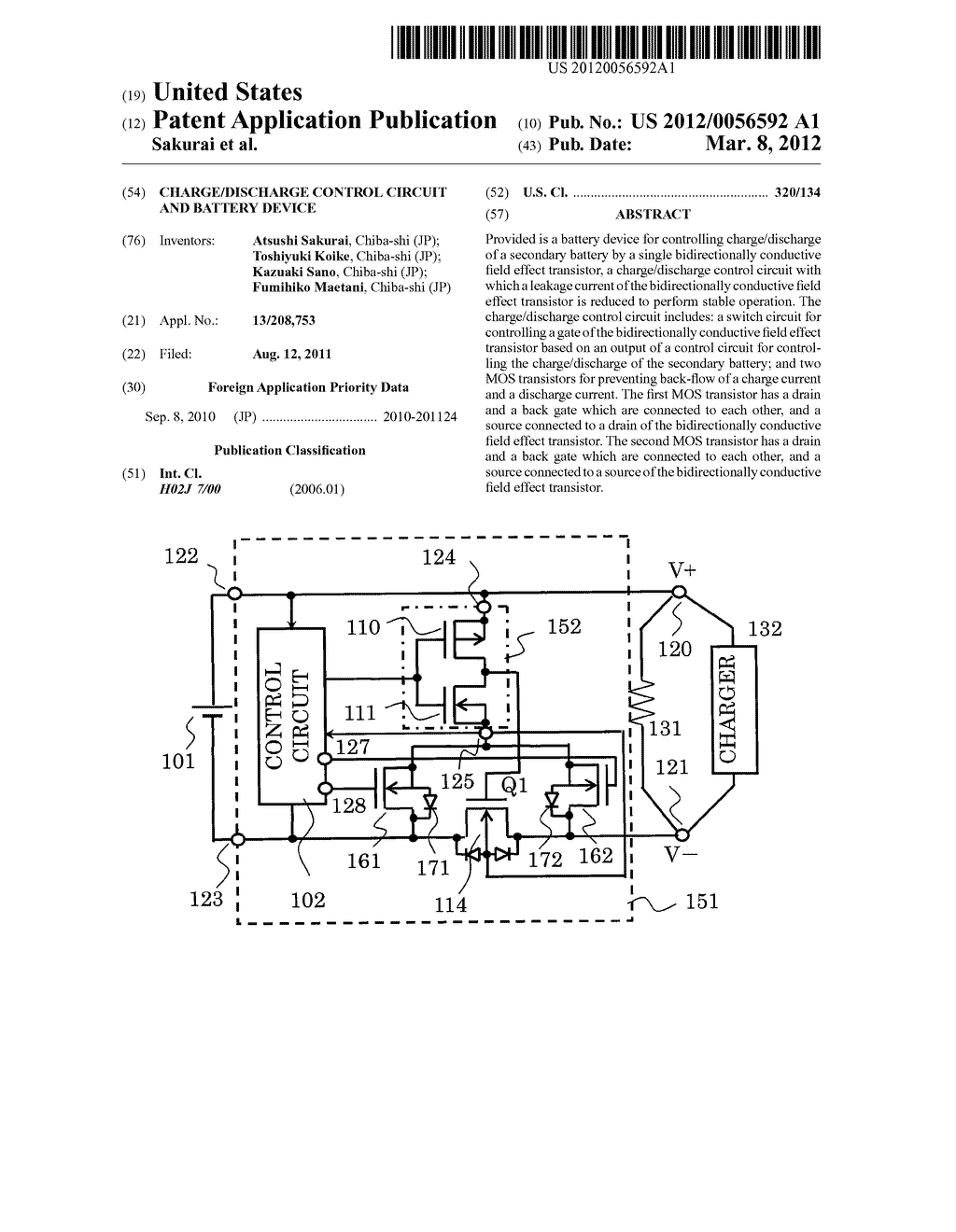CHARGE/DISCHARGE CONTROL CIRCUIT AND BATTERY DEVICE - diagram, schematic, and image 01