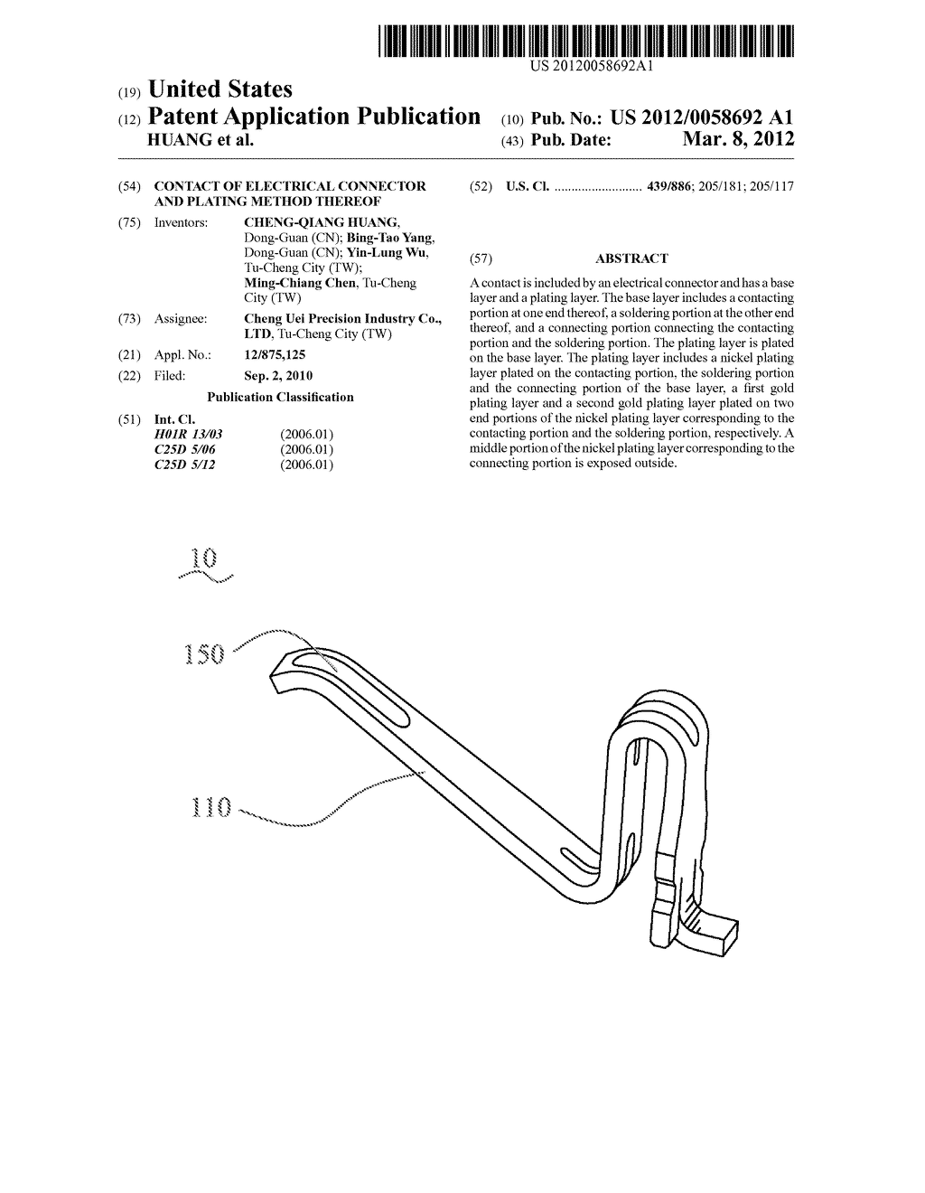 CONTACT OF ELECTRICAL CONNECTOR AND PLATING METHOD THEREOF - diagram, schematic, and image 01