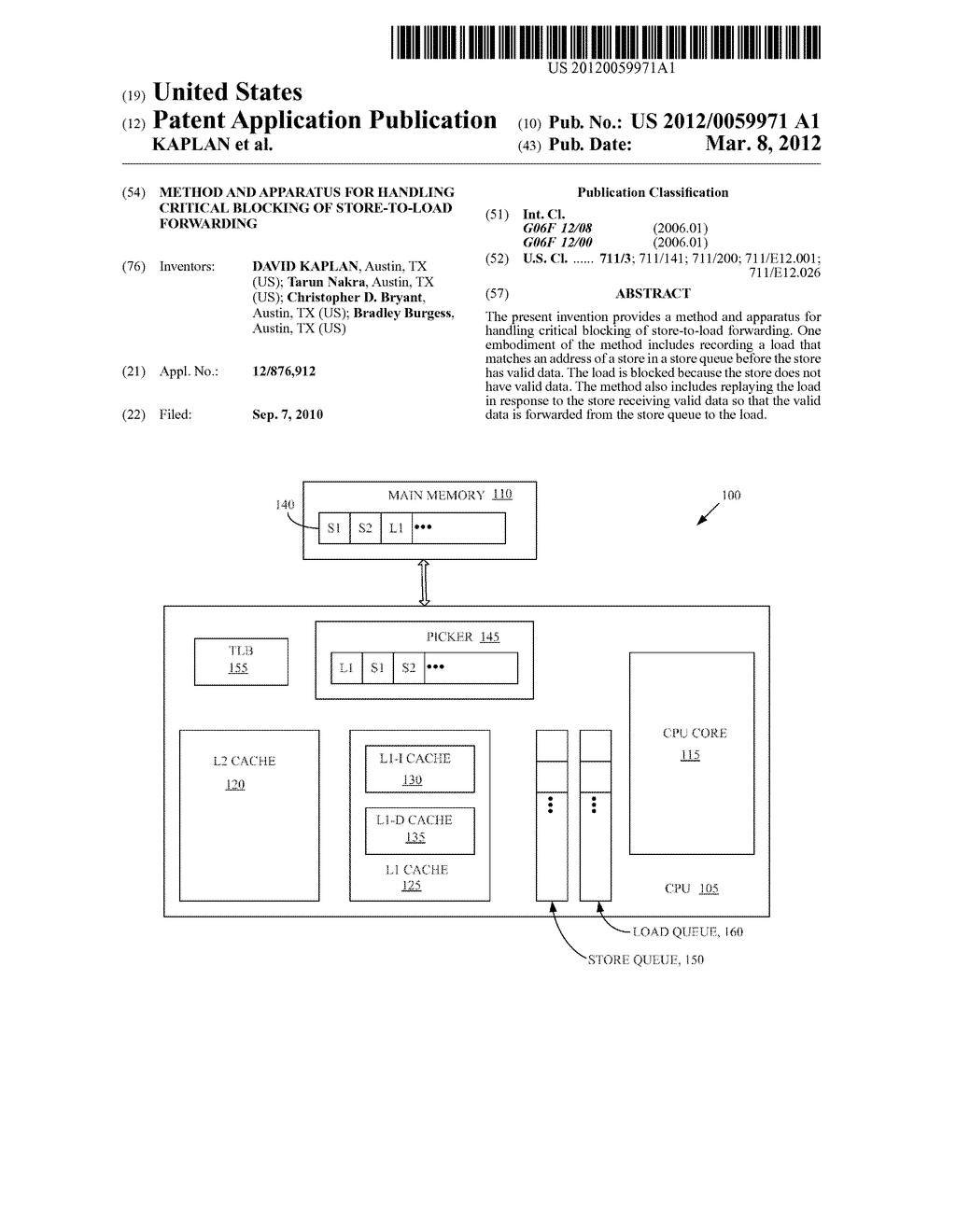 METHOD AND APPARATUS FOR HANDLING CRITICAL BLOCKING OF STORE-TO-LOAD     FORWARDING - diagram, schematic, and image 01