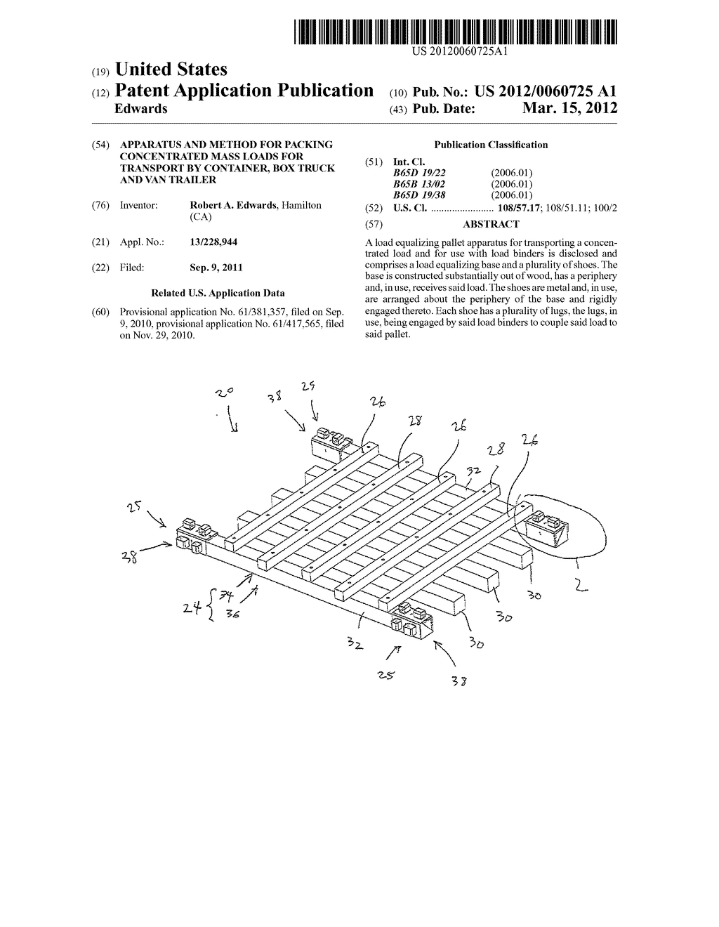 APPARATUS AND METHOD FOR PACKING CONCENTRATED MASS LOADS FOR TRANSPORT BY     CONTAINER, BOX TRUCK AND VAN TRAILER - diagram, schematic, and image 01