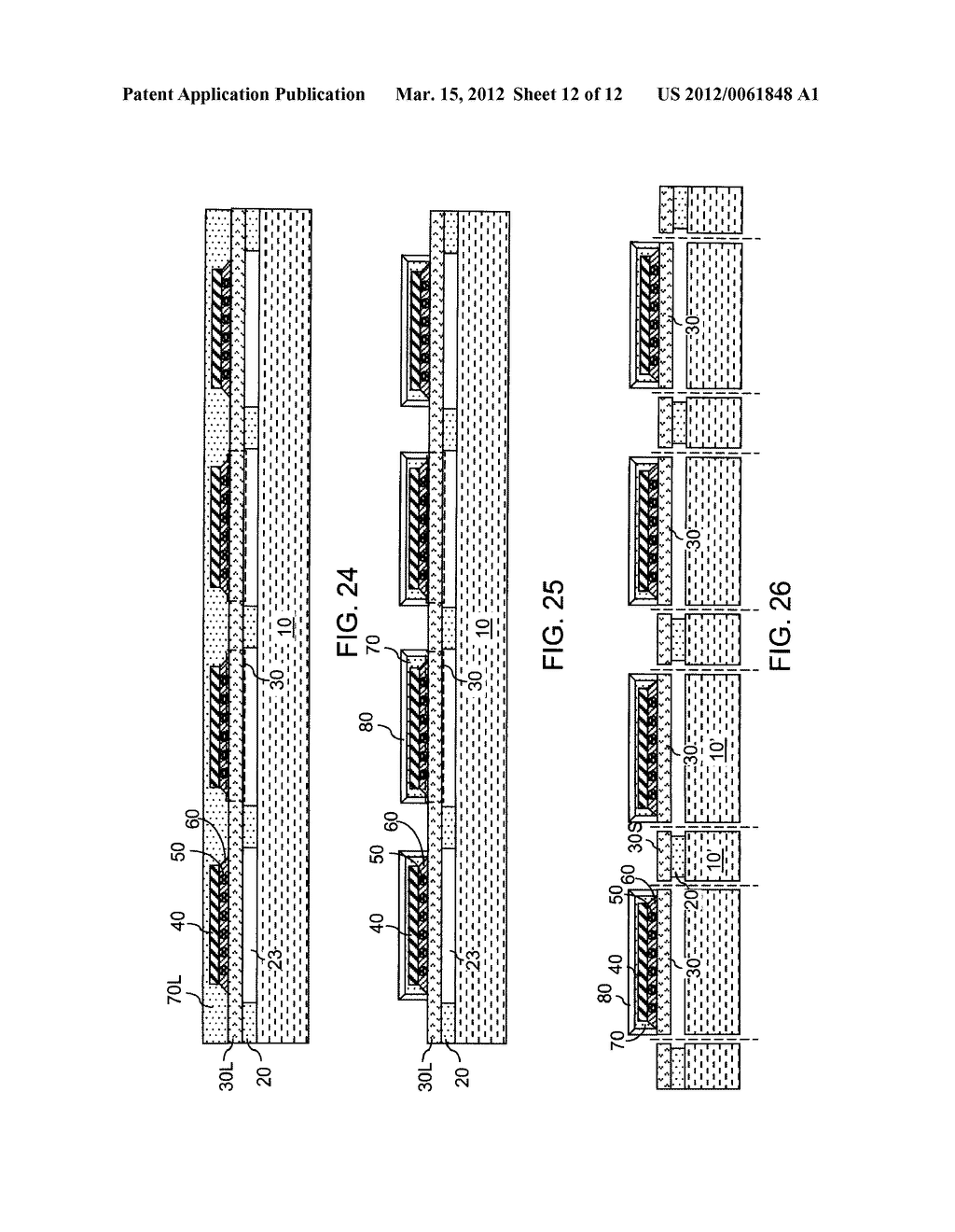 CHIP ASSEMBLY WITH A CORELESS SUBSTRATE EMPLOYING A PATTERNED ADHESIVE     LAYER - diagram, schematic, and image 13