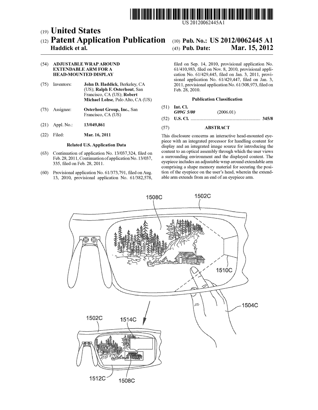 ADJUSTABLE WRAP AROUND EXTENDABLE ARM FOR A HEAD-MOUNTED DISPLAY - diagram, schematic, and image 01