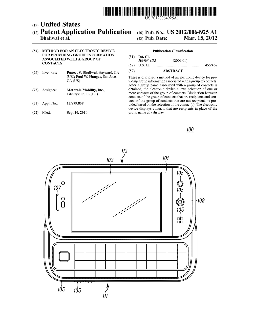 Method for an Electronic Device for Providing Group Information Associated     with a Group of Contacts - diagram, schematic, and image 01