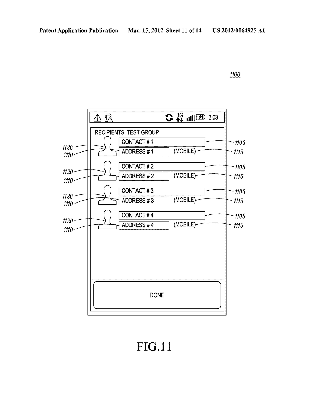Method for an Electronic Device for Providing Group Information Associated     with a Group of Contacts - diagram, schematic, and image 12