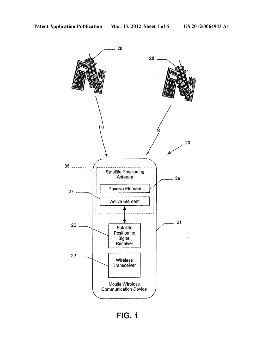 MOBILE WIRELESS COMMUNICATIONS DEVICE COMPRISING A SATELLITE POSITIONING     SYSTEM ANTENNA WITH ACTIVE AND PASSIVE ELEMENTS AND RELATED METHODS - diagram, schematic, and image 02