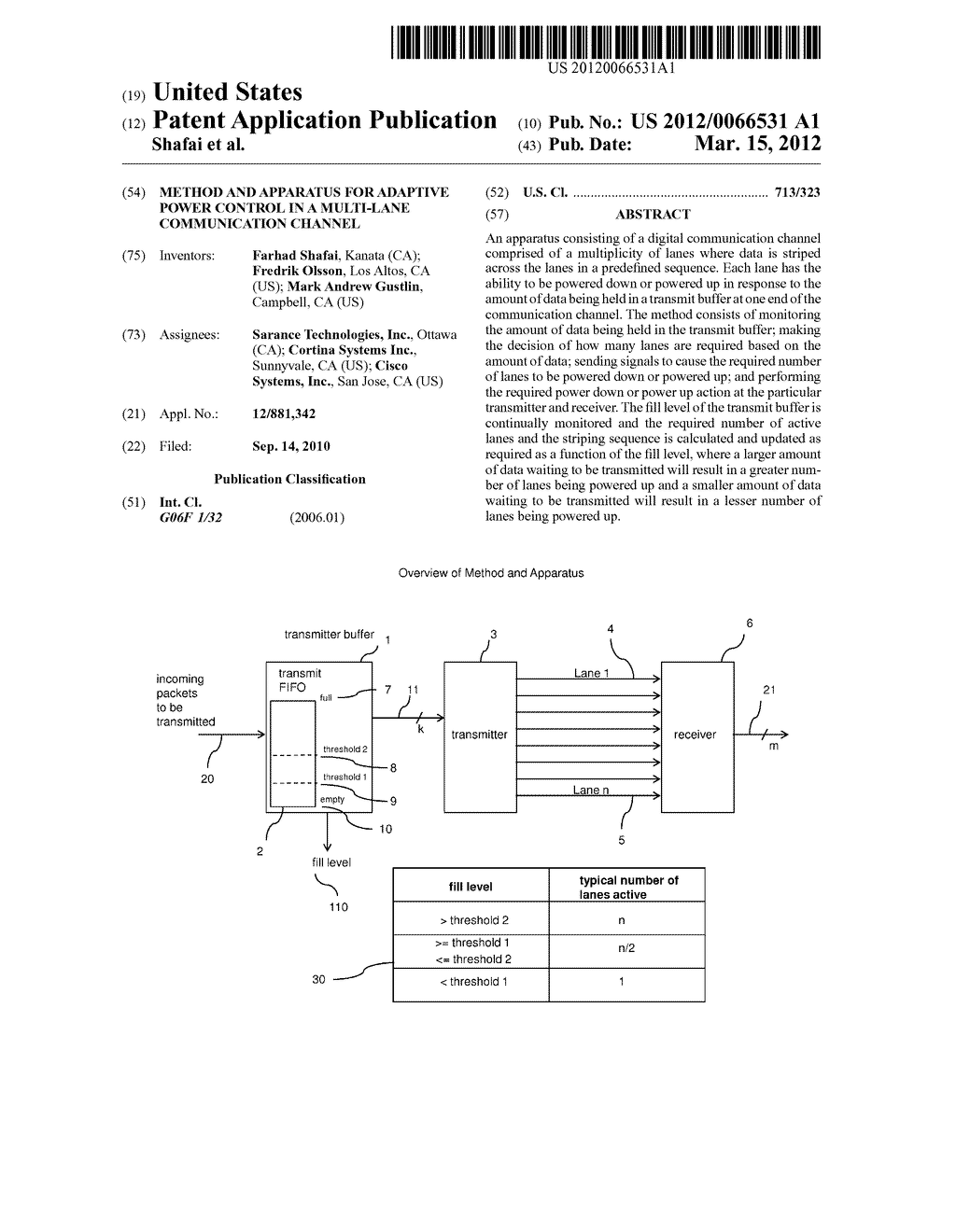 METHOD AND APPARATUS FOR ADAPTIVE POWER CONTROL IN A MULTI-LANE     COMMUNICATION CHANNEL - diagram, schematic, and image 01