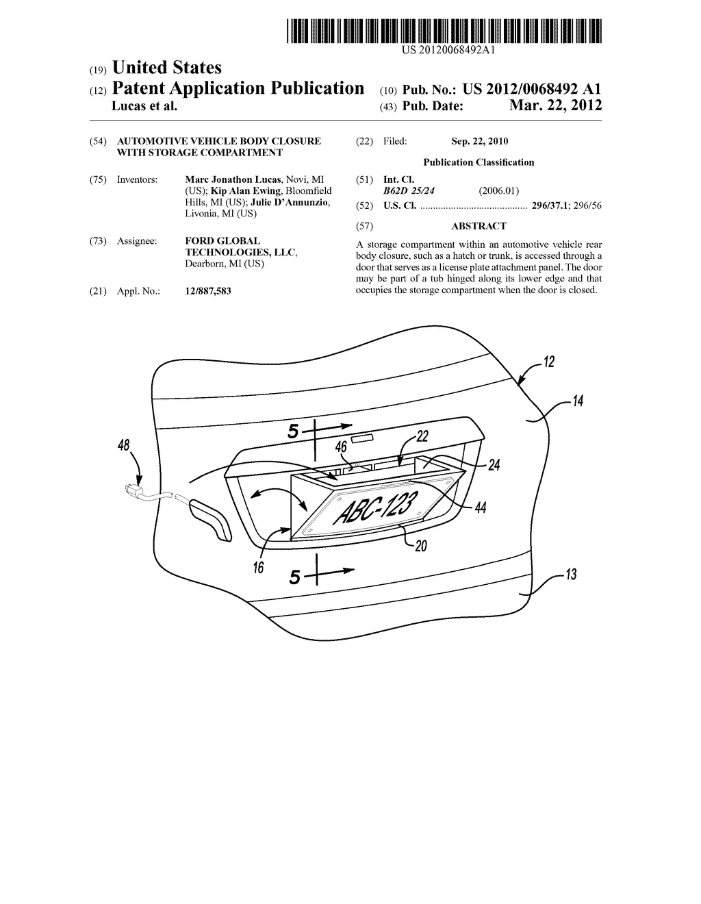 Automotive Vehicle Body Closure with Storage Compartment - diagram, schematic, and image 01