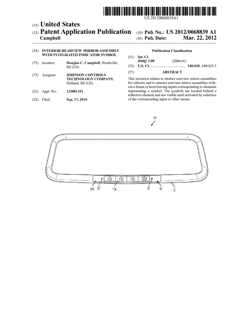 INTERIOR REARVIEW MIRROR ASSEMBLY WITH INTEGRATED INDICATOR SYMBOL - diagram, schematic, and image 01