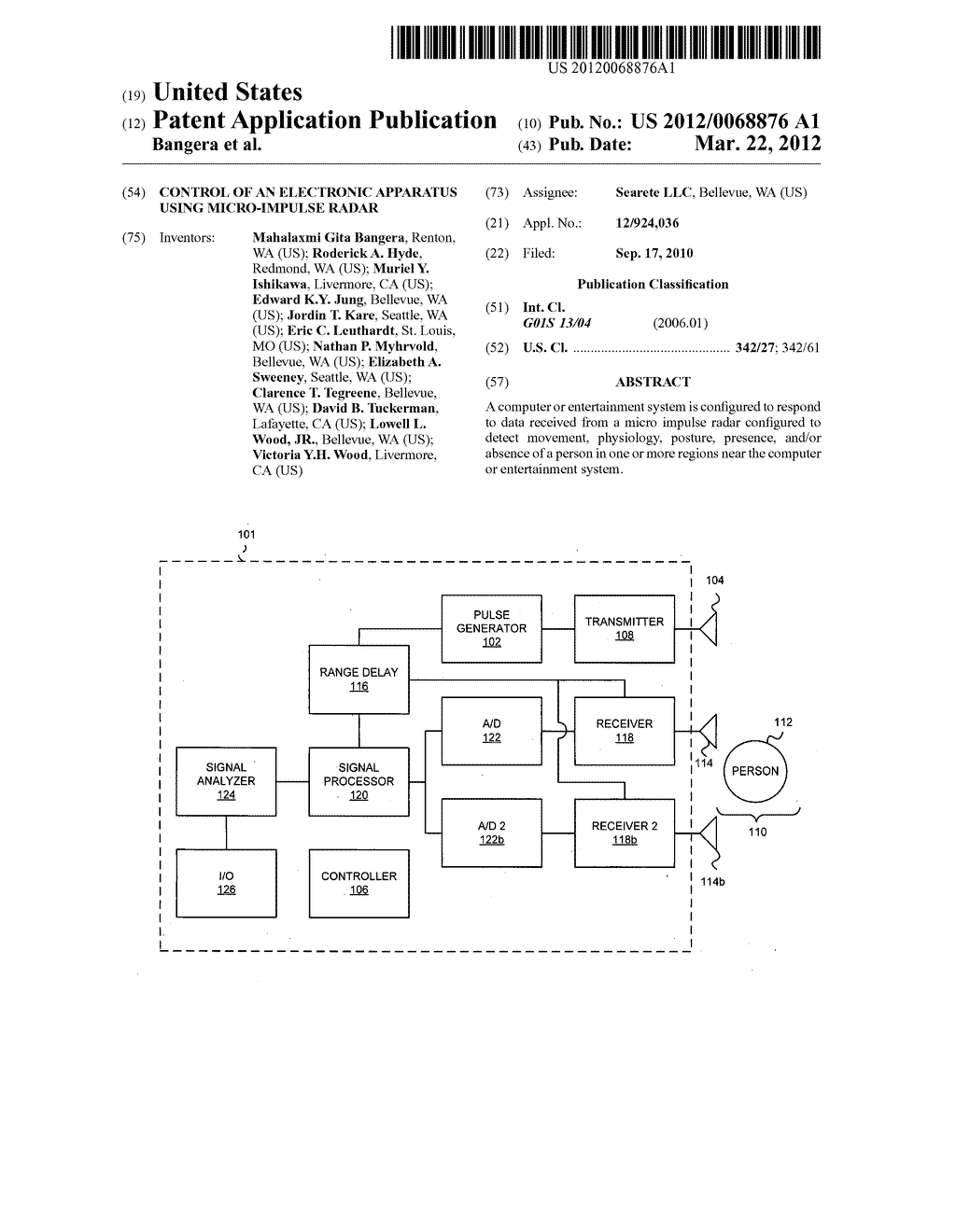 Control of an electronic apparatus using micro-impulse radar - diagram, schematic, and image 01