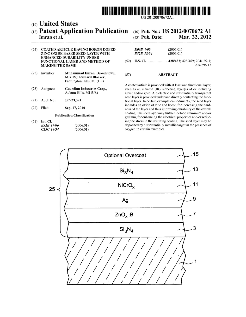 Coated article having boron doped zinc oxide based seed layer with     enhanced durability under functional layer and method of making the same - diagram, schematic, and image 01