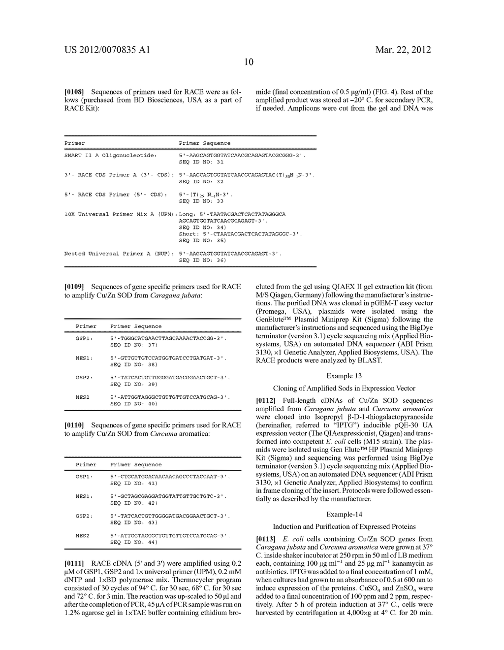 Method of Cloning Stable Stress Tolerant Superoxide Dismutase Using     Universal Primers - diagram, schematic, and image 18