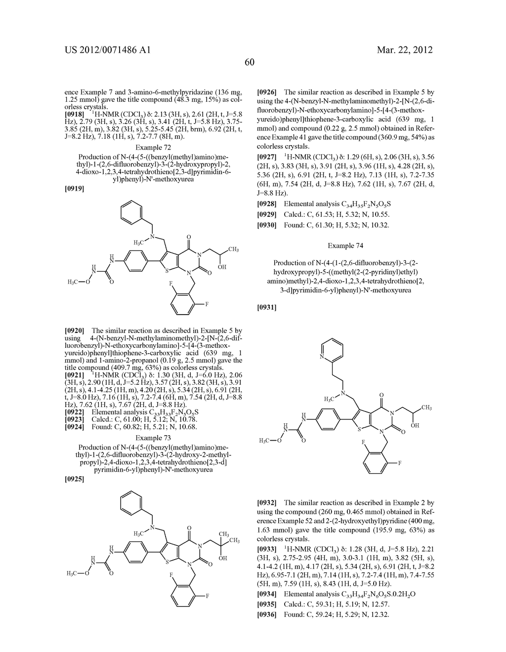 THIENOPYRIMIDINE COMPOUNDS AND USE THEREOF - diagram, schematic, and image 61