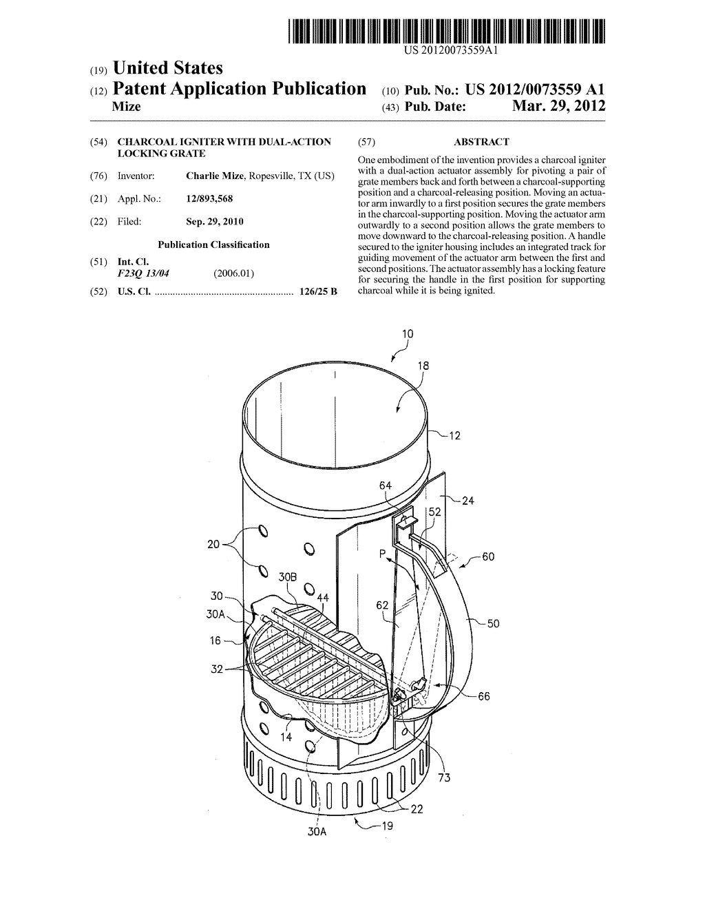 CHARCOAL IGNITER WITH DUAL-ACTION LOCKING GRATE - diagram, schematic, and image 01