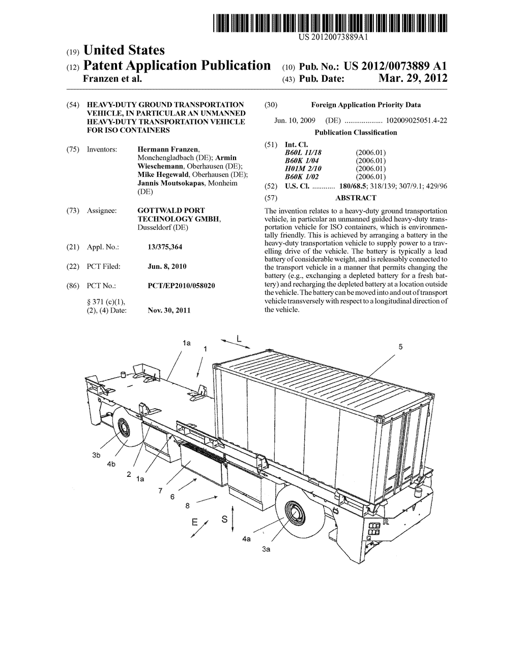 HEAVY-DUTY GROUND TRANSPORTATION VEHICLE, IN PARTICULAR AN UNMANNED     HEAVY-DUTY TRANSPORTATION VEHICLE FOR ISO CONTAINERS - diagram, schematic, and image 01