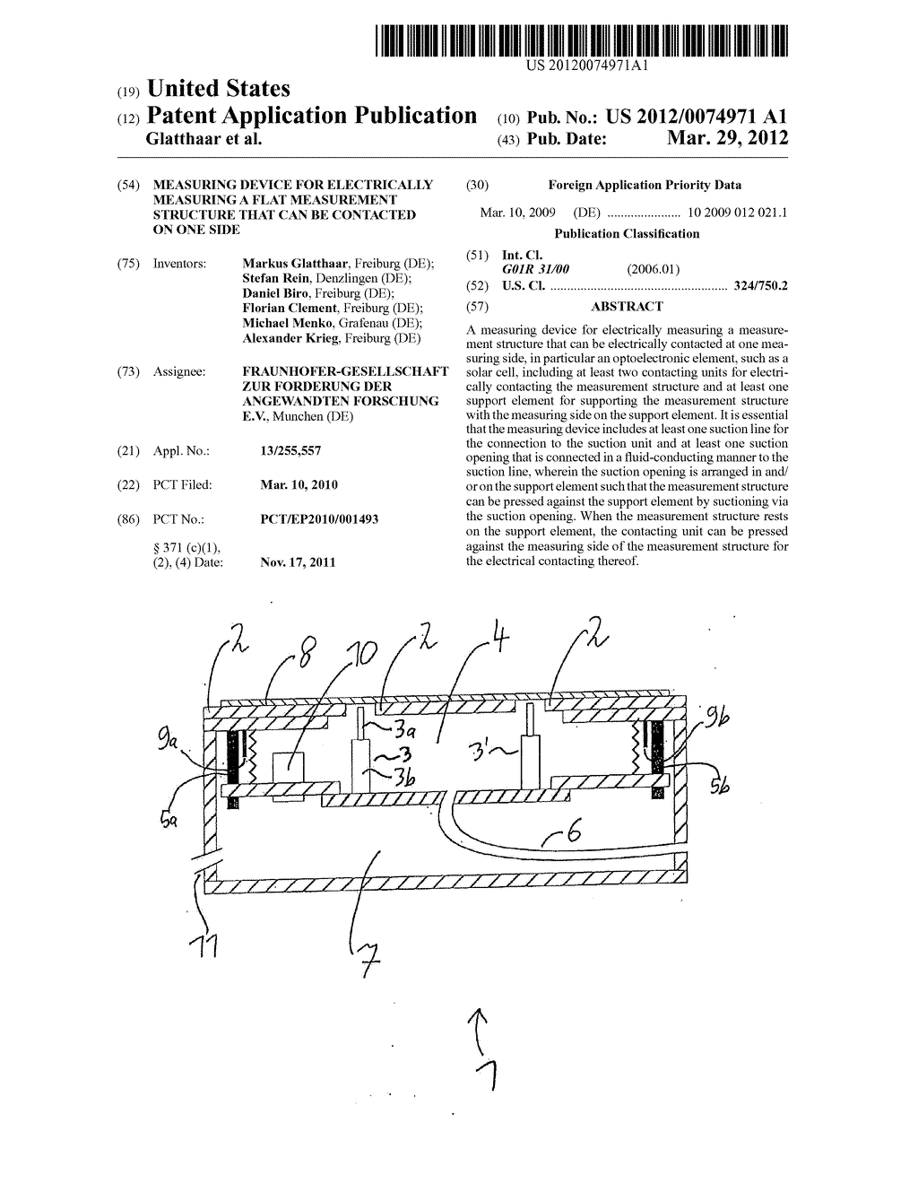 MEASURING DEVICE FOR ELECTRICALLY MEASURING A FLAT MEASUREMENT STRUCTURE     THAT CAN BE CONTACTED ON ONE SIDE - diagram, schematic, and image 01