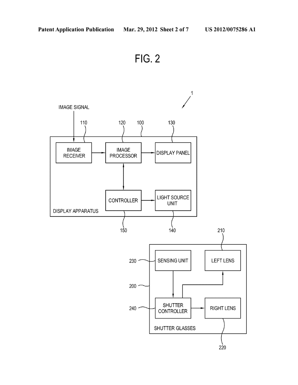 DISPLAY APPARATUS AND CONTROL METHOD THEREOF, SHUTTER GLASSES AND CONTROL     METHOD THEREOF, AND DISPLAY SYSTEM - diagram, schematic, and image 03