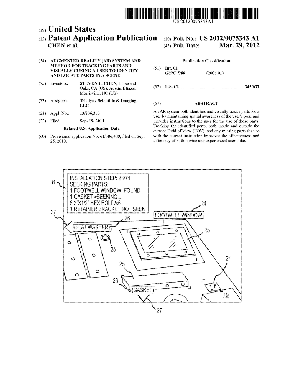 AUGMENTED REALITY (AR) SYSTEM AND METHOD FOR TRACKING PARTS AND VISUALLY     CUEING A USER TO IDENTIFY AND LOCATE PARTS IN A SCENE - diagram, schematic, and image 01