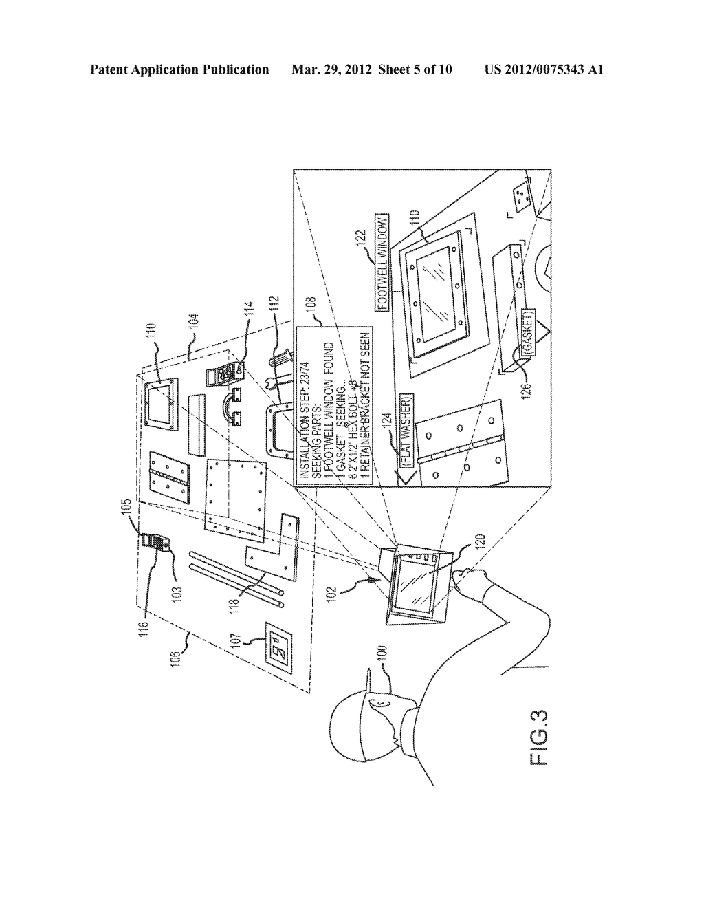 AUGMENTED REALITY (AR) SYSTEM AND METHOD FOR TRACKING PARTS AND VISUALLY     CUEING A USER TO IDENTIFY AND LOCATE PARTS IN A SCENE - diagram, schematic, and image 06