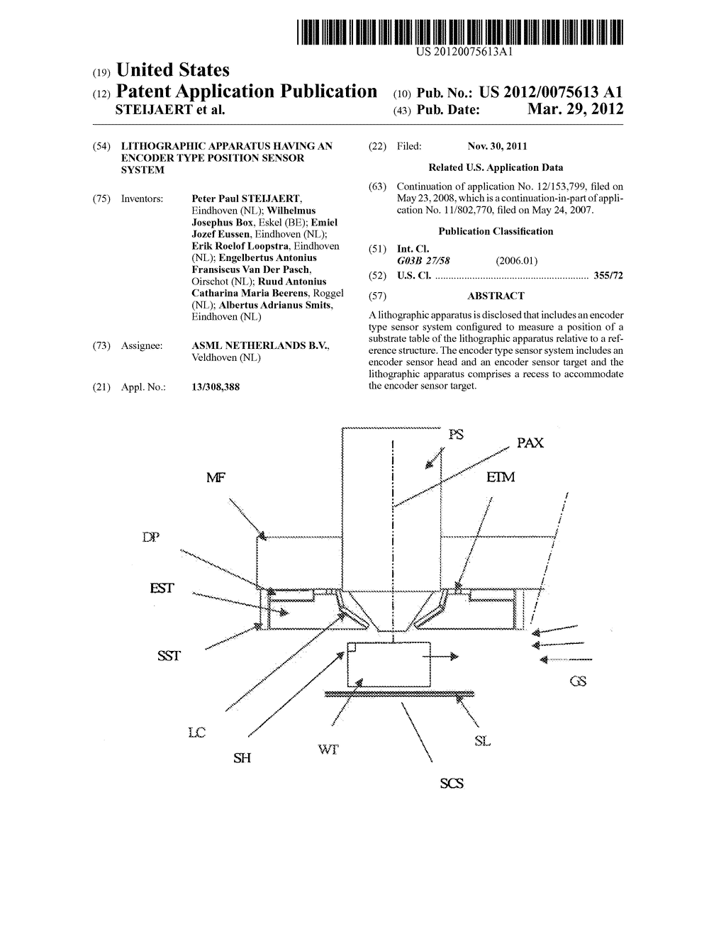 Lithographic Apparatus Having an Encoder Type Position Sensor System - diagram, schematic, and image 01