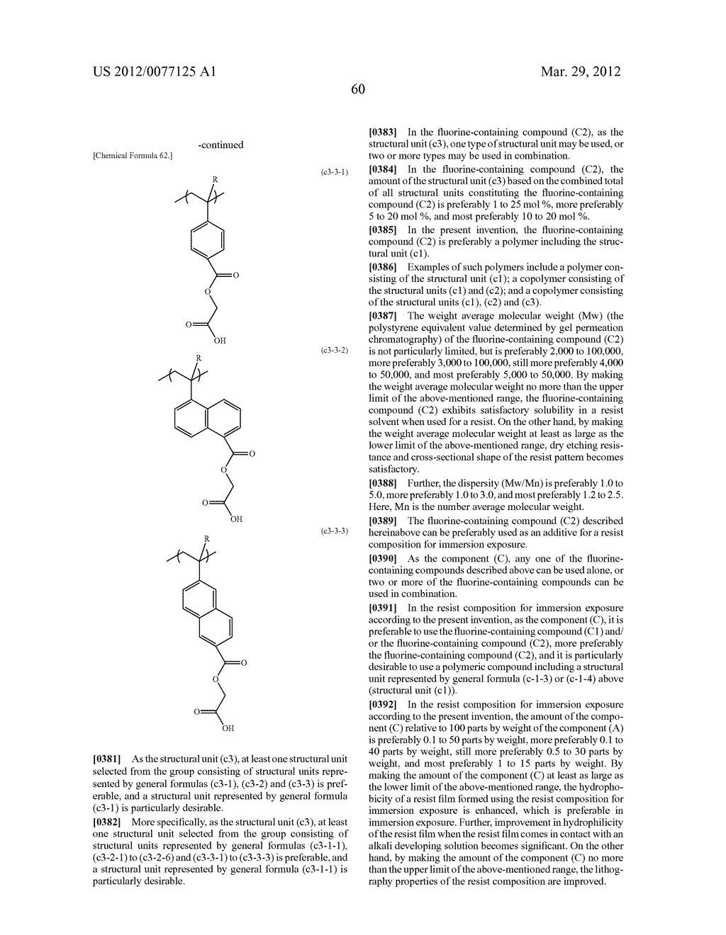 RESIST COMPOSITION FOR IMMERSION EXPOSURE, METHOD OF FORMING RESIST     PATTERN USING THE SAME, AND FLUORINE-CONTAINING COMPOUND - diagram, schematic, and image 62