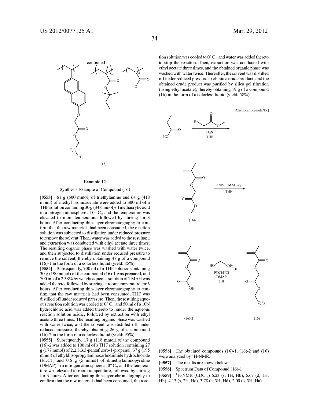 RESIST COMPOSITION FOR IMMERSION EXPOSURE, METHOD OF FORMING RESIST     PATTERN USING THE SAME, AND FLUORINE-CONTAINING COMPOUND - diagram, schematic, and image 76