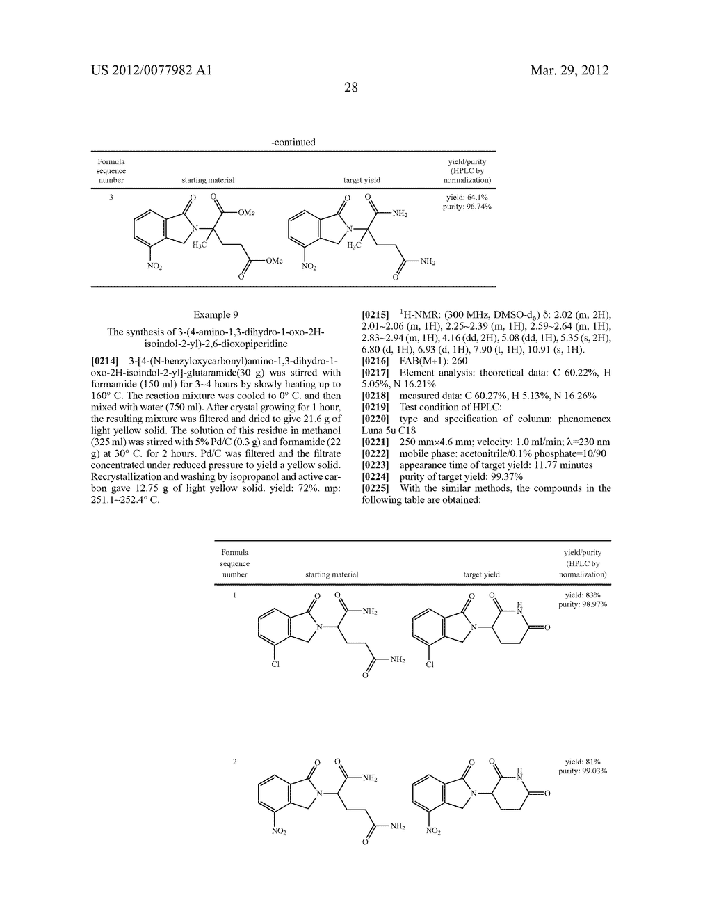 Methods for Synthesizing 3-(Substituted Dihydroisoindolinone-2-YL)-2,     6-Dioxopiperidine, and Intermediates Thereof - diagram, schematic, and image 29