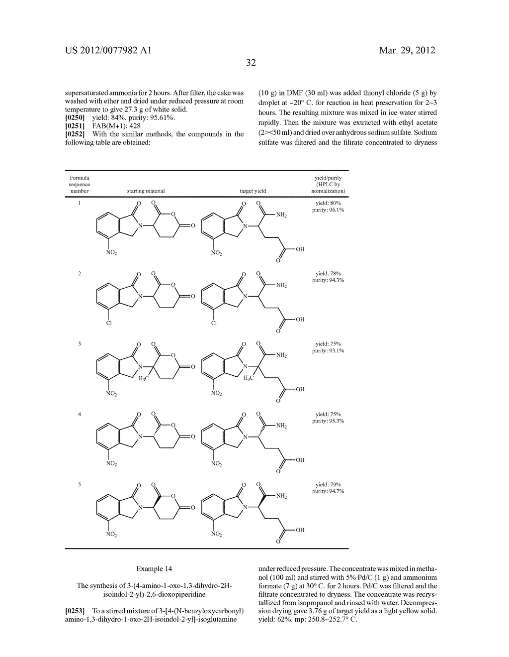 Methods for Synthesizing 3-(Substituted Dihydroisoindolinone-2-YL)-2,     6-Dioxopiperidine, and Intermediates Thereof - diagram, schematic, and image 33