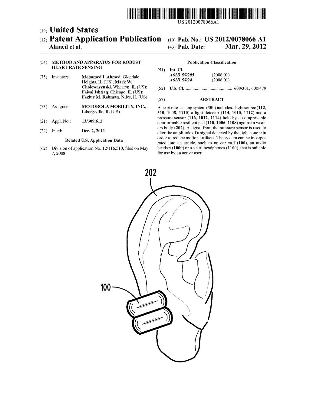 METHOD AND APPARATUS FOR ROBUST HEART RATE SENSING - diagram, schematic, and image 01