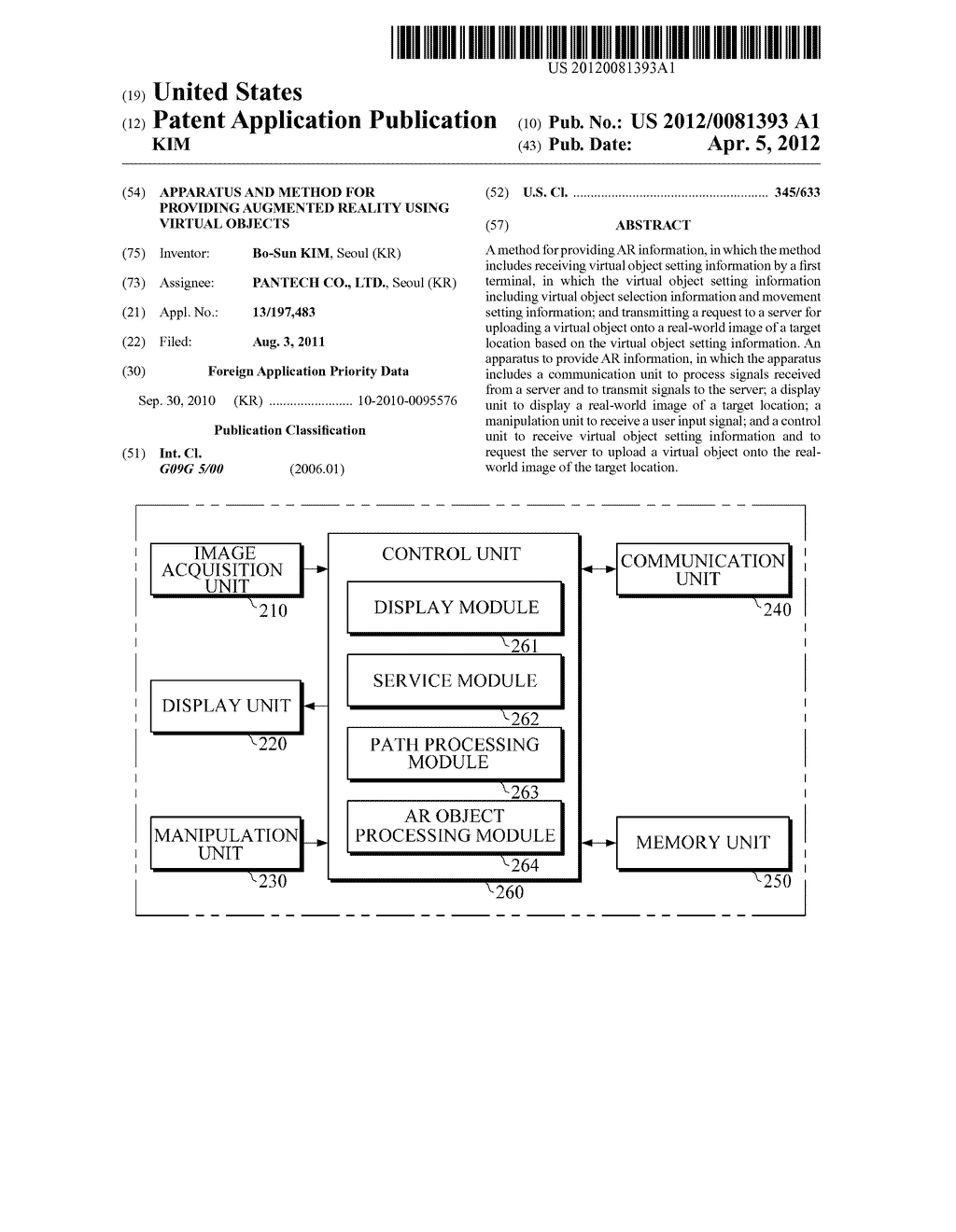 APPARATUS AND METHOD FOR PROVIDING AUGMENTED REALITY USING VIRTUAL OBJECTS - diagram, schematic, and image 01