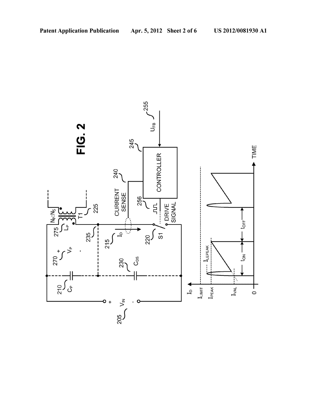 METHOD AND APPARATUS TO LIMIT MAXIMUM SWITCH CURRENT IN A SWITCHING POWER     SUPPLY - diagram, schematic, and image 03