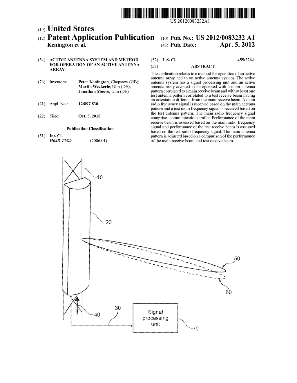 ACTIVE ANTENNA SYSTEM AND METHOD FOR OPERATION OF AN ACTIVE ANTENNA ARRAY - diagram, schematic, and image 01