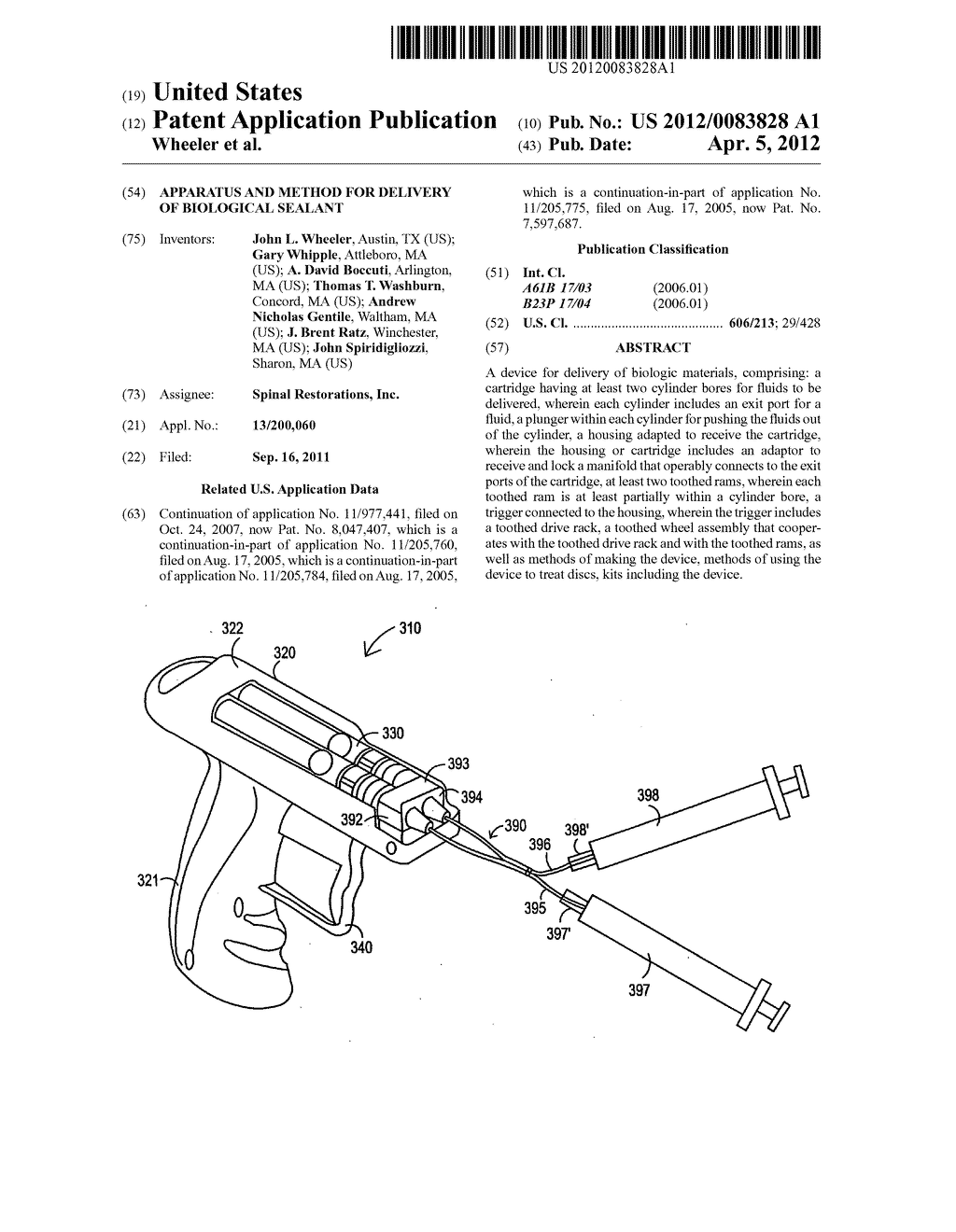 Apparatus and method for delivery of biological sealant - diagram, schematic, and image 01