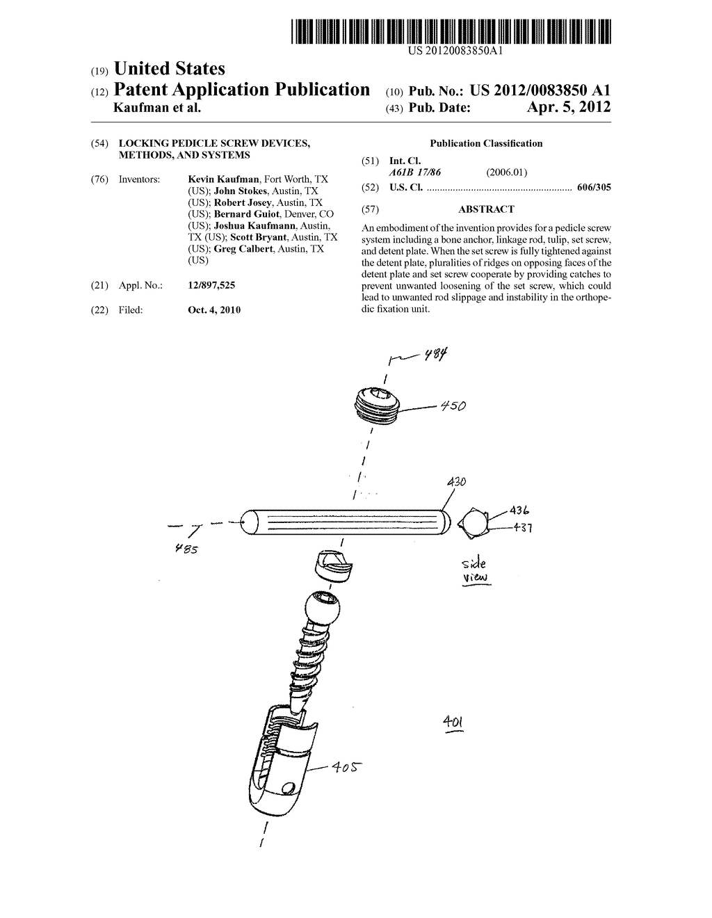 Locking Pedicle Screw Devices, Methods, And Systems - diagram, schematic, and image 01