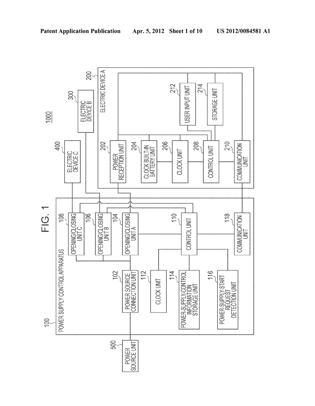POWER SUPPLY CONTROL APPARATUS, ELECTRIC DEVICE, POWER SUPPLY CONTROL     SYSTEM, AND POWER SUPPLY CONTROL METHOD AND PROGRAM - diagram, schematic, and image 02