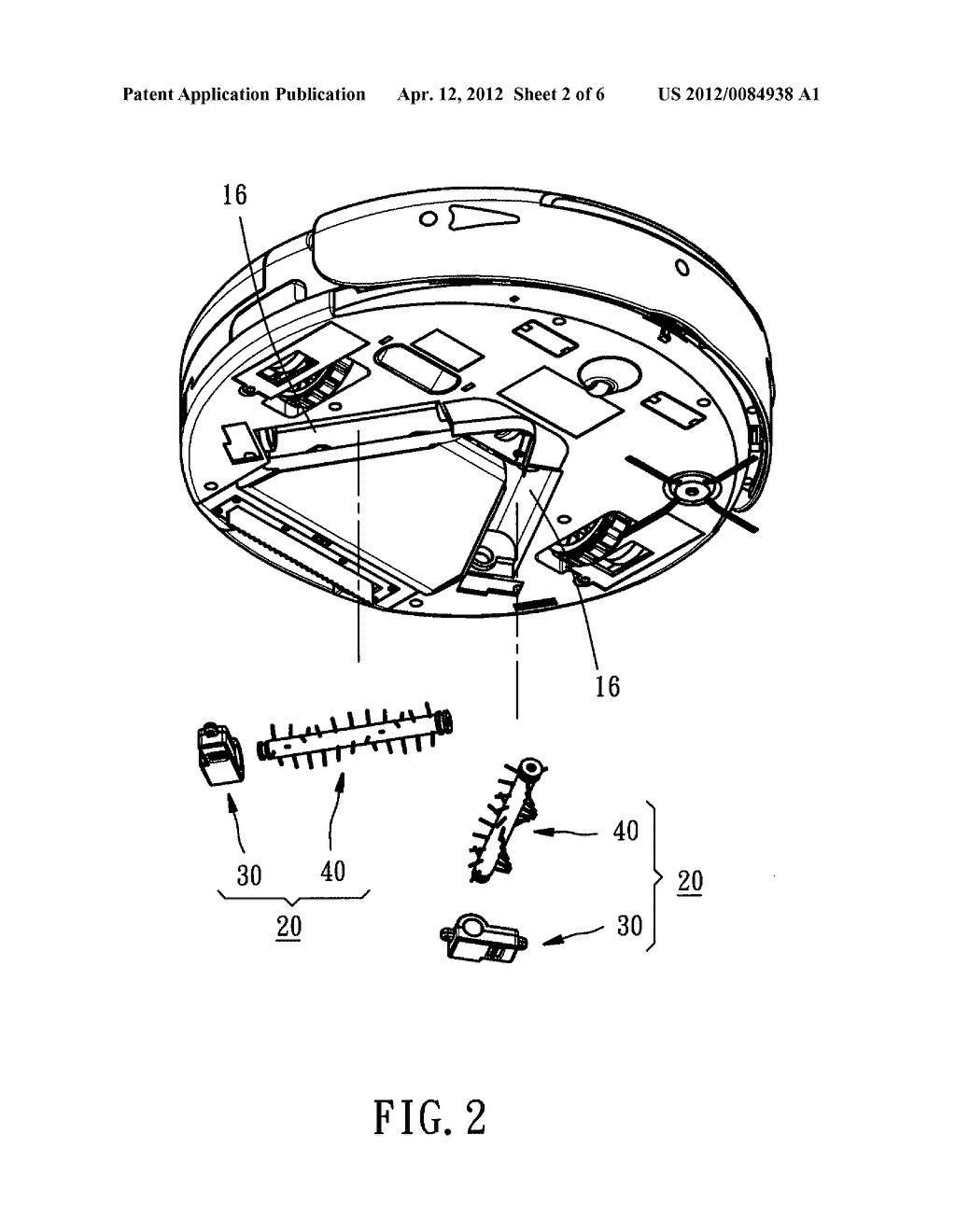 20120084938_03 dust roller brush device for mobile robotic vacuum cleaner diagram