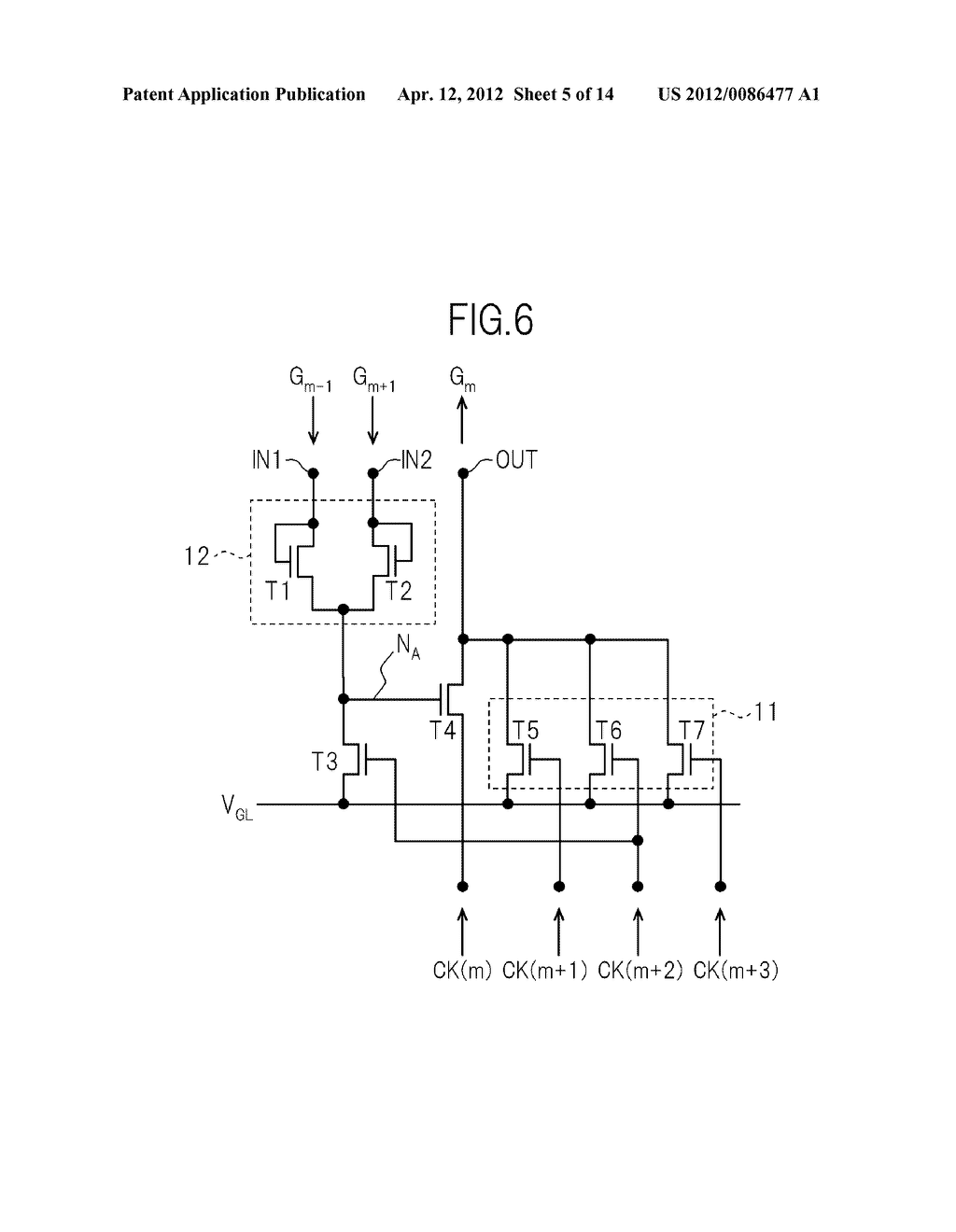 GATE SIGNAL LINE DRIVE CIRCUIT AND DISPLAY DEVICE - diagram, schematic, and image 06