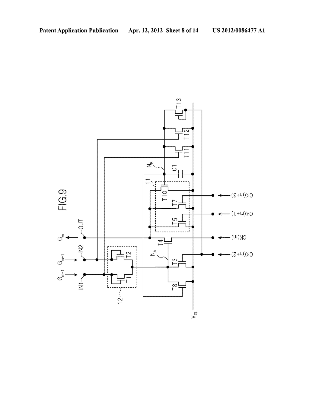 GATE SIGNAL LINE DRIVE CIRCUIT AND DISPLAY DEVICE - diagram, schematic, and image 09