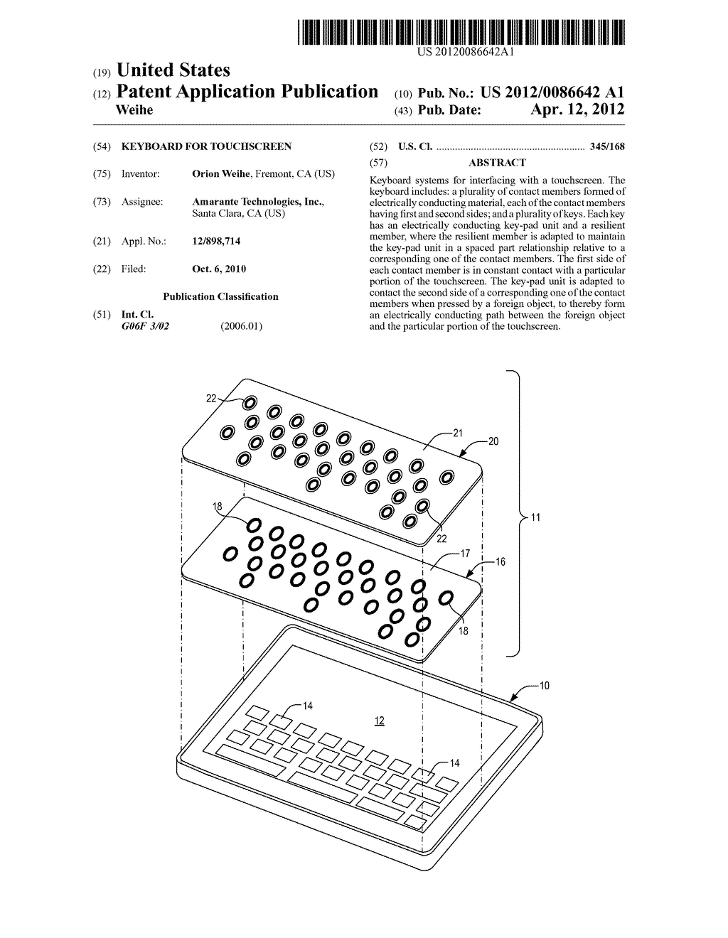 Keyboard for touchscreen - diagram, schematic, and image 01