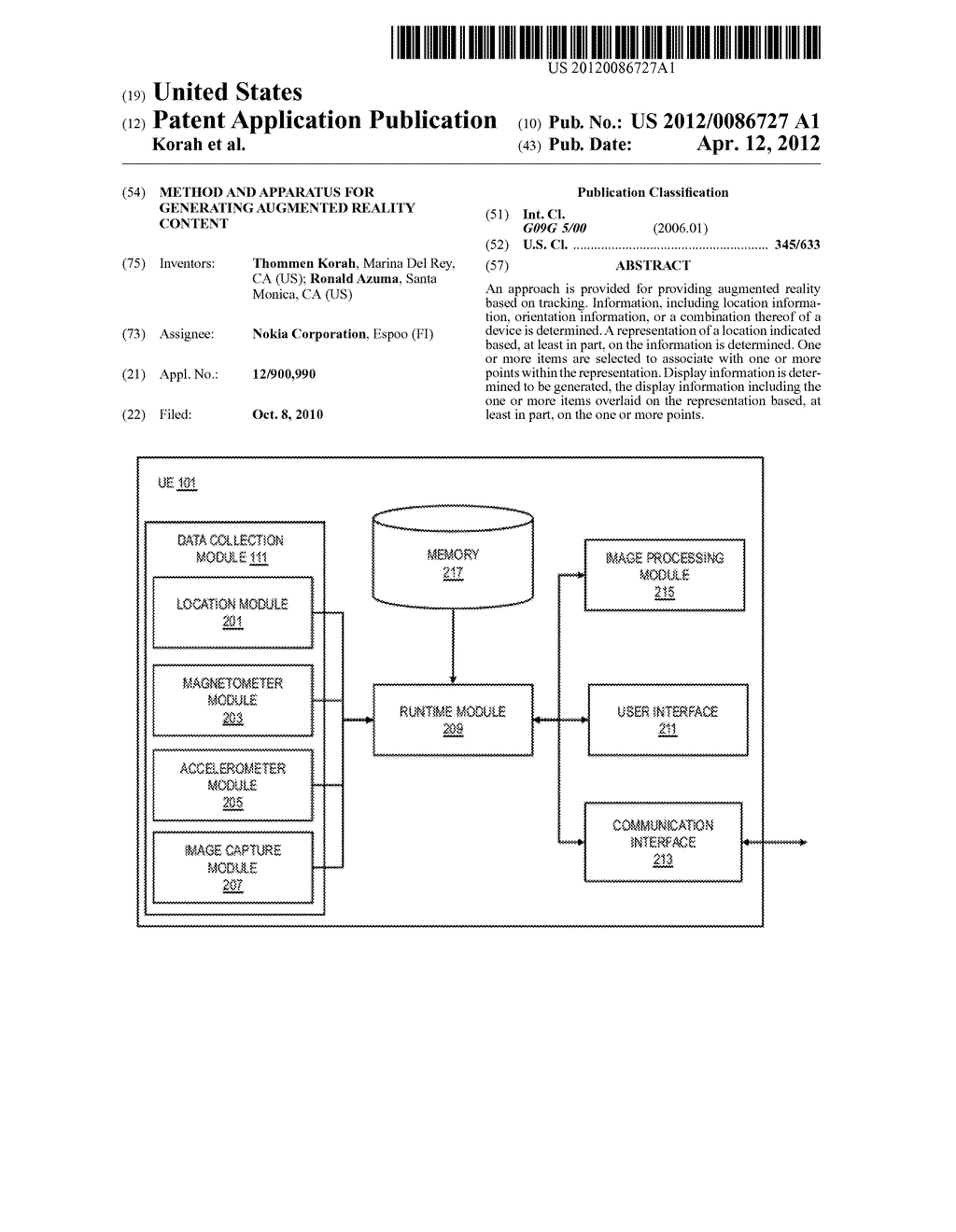 METHOD AND APPARATUS FOR GENERATING AUGMENTED REALITY CONTENT - diagram, schematic, and image 01
