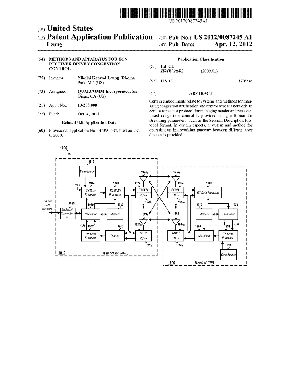 METHODS AND APPARATUS FOR ECN RECEIVER DRIVEN CONGESTION CONTROL - diagram, schematic, and image 01