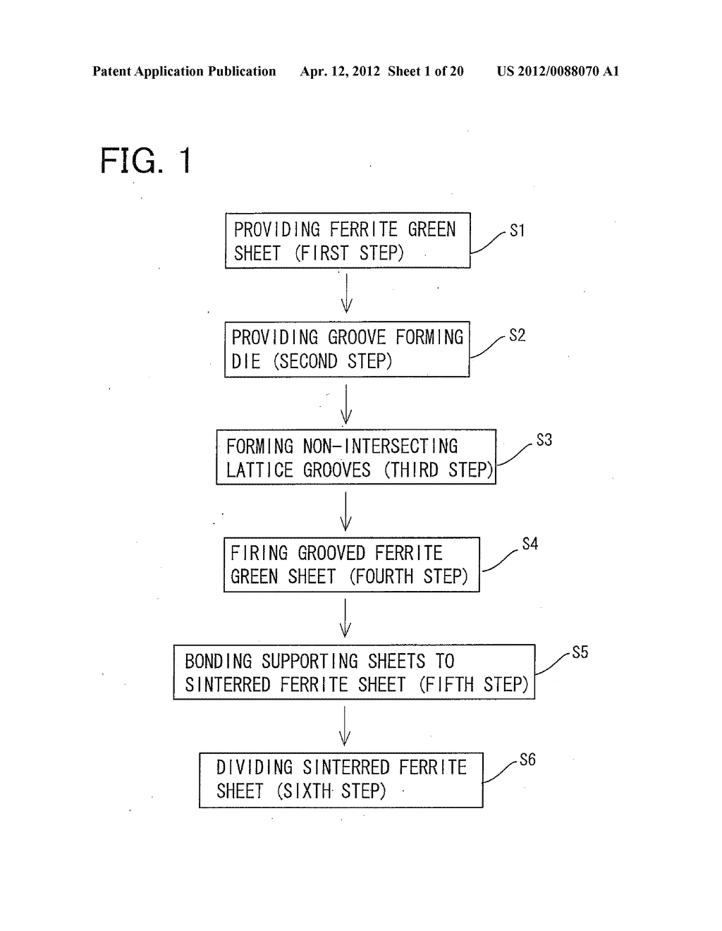 COMPOSITE FERRITE SHEET, METHOD OF FABRICATING THE COMPOSITE FERRITE     SHEET, AND ARRAY OF SINTERED FERRITE SEGMENTS USED TO FORM THE COMPOSITE     FERRITE SHEET - diagram, schematic, and image 02