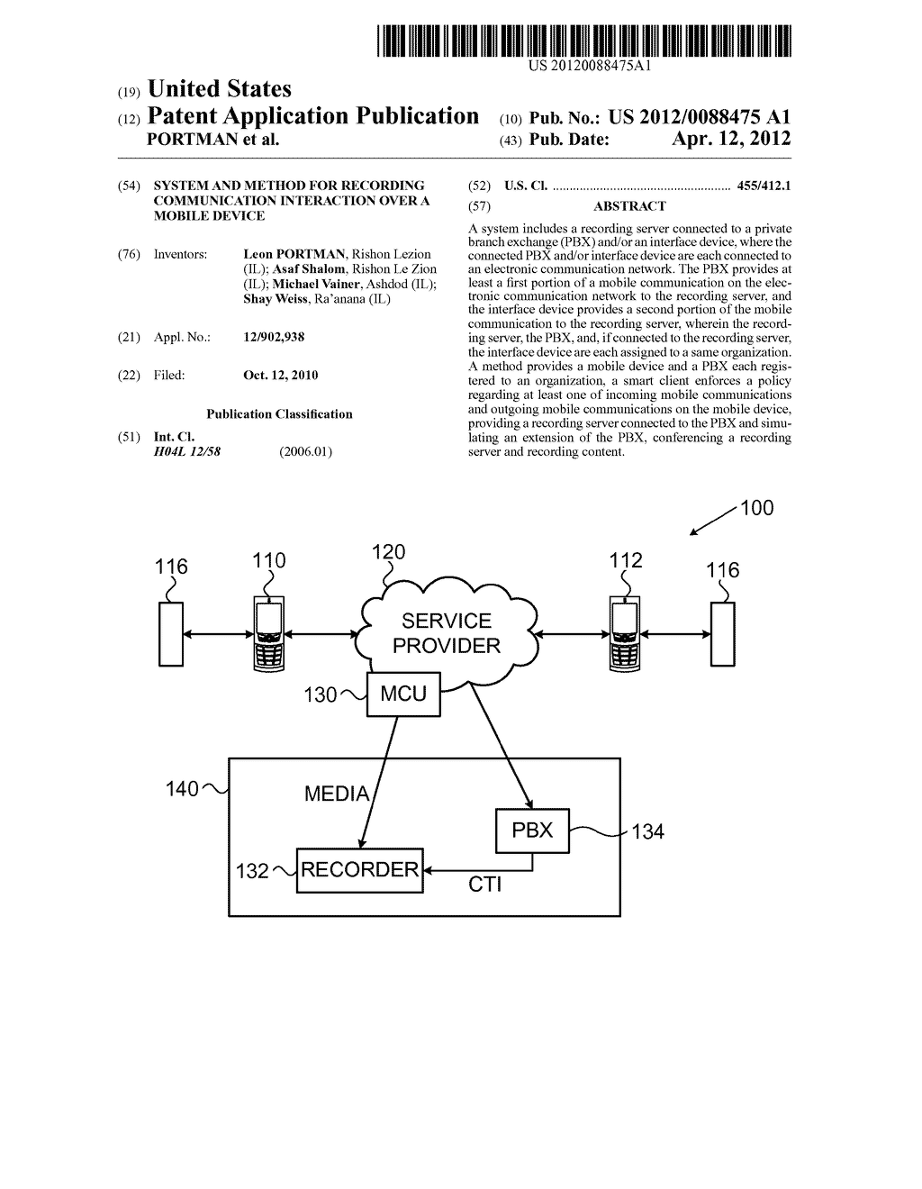 SYSTEM AND METHOD FOR RECORDING COMMUNICATION INTERACTION OVER A MOBILE     DEVICE - diagram, schematic, and image 01